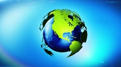 Earth globe turn around loop, spinning world concept of world green energy - stock footage
