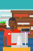Salesman standing  at checkout - stock illustration