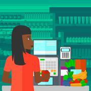 Cashier at supermarket checkout - stock illustration