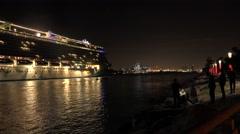 Cruise ship arrive to Miami cruise terminal. 4K video Stock Footage