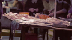 Chine Meat Market Slow Motion - stock footage