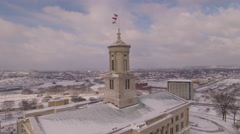 4k Aerial Snow Tennessee State Capitol 009. PART 6 Orbiting Stock Footage