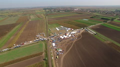 aerial shot of refugee camp in Hungary - stock footage