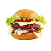 Tasty cheeseburger isolated at white background Stock Photos