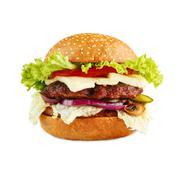 Tasty cheeseburger isolated at white background - stock photo