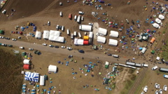 Aerial shot of refugee camp in Hungary Stock Footage