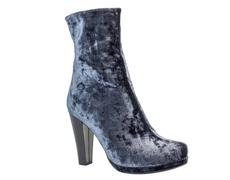 One gray suede women's boot on heels - stock photo