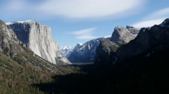 UltraHD wide panning shot of Yosemite Valley and El Capitan during the winter - stock footage