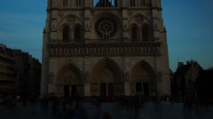 Notre Dame Cathedral Paris France Crowd Timelapse Zoom Out Stock Footage