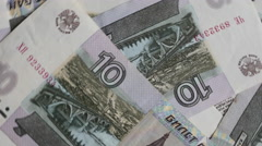 Russian Money Ten Rubles Background Motion Stock Footage
