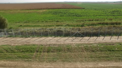 Aerial shot of Hungarian border wire fence Stock Footage