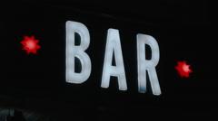 Illuminated Bar Sign Stock Footage