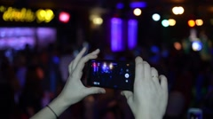 Mobile Smart Phone Used By Fan Girl in the Nightclub disco Stock Footage