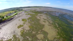 Aerial view of water stream and bridge at Trois Pistols, Canada 10 Stock Footage