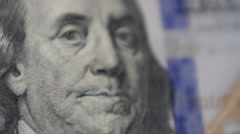 Ben Franklin 100 Dollar Bill Close Up Sliding Shot Stock Footage