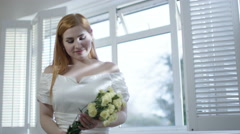 4K Portrait of happy bride to be preparing for her wedding day Stock Footage