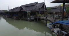 Colorful Scenic old Floating Market,Canoe,Bangkok  Thailand pan 4K Stock Footage