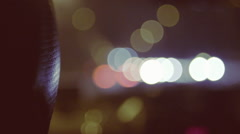 Taxi Headrest with Night Lights, Bokeh Stock Footage