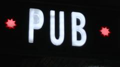 Illuminated Sign Pub Stock Footage