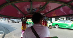 Scenic Riding in Tuk Tuk tuktuk  three-wheeler POV Cityscape  Bangkok  4k Stock Footage