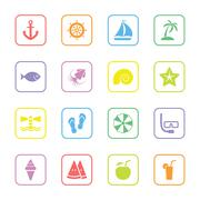 colorful flat summer icon set with rounded rectangle frame - stock illustration