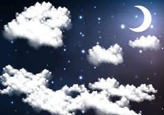crescent moon illuminates the night - stock illustration