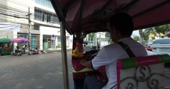Scenic Fast Cityscape Riding in Tuk Tuk POV Bangkok Thailand 4k Stock Footage