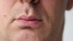 Male Mouth And Teeth Close Up Stock Footage