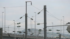 Power poles near a highway in Nice Stock Footage