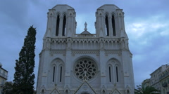 Basilica of Notre-Dame de Nice on the Avenue Jean-Médecin in the centre of Nice Stock Footage