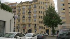 Building seen on Avenue de la Californie, near HSBC Bank in Nice Stock Footage