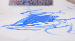 Person artistic drawing with paint brush closeup 4K Stock Footage