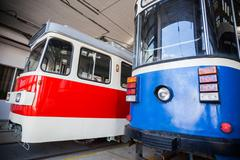 Trams in depot Stock Photos