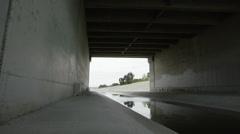 LA River Under Bridge 4K Stock Footage