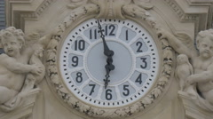Close up view of the clock on the Nice Train Station's facade Stock Footage