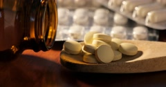 Pharmaceutical drugstore pill medication for health care and pain relief - stock footage