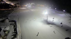Aerial shot of ski slope the Bukovel resort at night Stock Footage