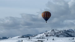 A Solitary Hot Air Balloon Stock Footage