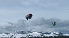 Mountains and Hot Air Balloons Stock Footage