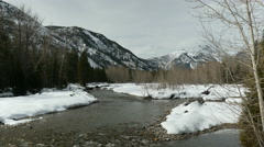 Winter, Snow, River, North Cascades, Methow Valley Stock Footage