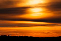 Fiery sunset background - stock photo