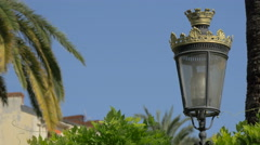 Vintage street lamp on a sunny day in Nice - stock footage