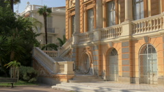 The staircase of the Fine Arts Museum on a sunny day in Nice Stock Footage