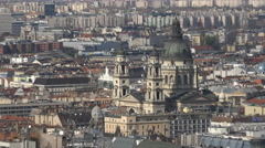 Budapest cityscape. Zoom out of St. Stephen's Basilica - stock footage