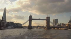 Tower Bridge and Shard Building from Rver Thames - stock footage