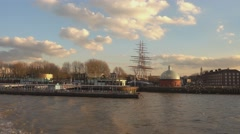 Greenwich Pier and Cutty Sark from River Thames Stock Footage