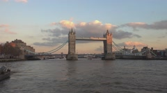The Tower Bridge London from River Thames - stock footage