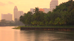 View to Singapore downtown from the Kallang river park Stock Footage