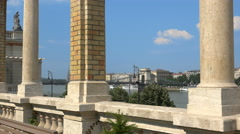 Stock Video Footage of slider shot of Chain bridge and Danube river - Budapest Hungary