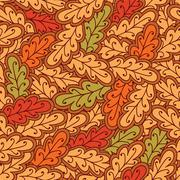 Autumn oak leaves seamless pattern - stock illustration